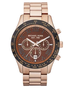 Michael Kors Watch, Men's Chronograph Layton Rose Gold-tone Stainless Steel Bracelet 44mm MK8247
