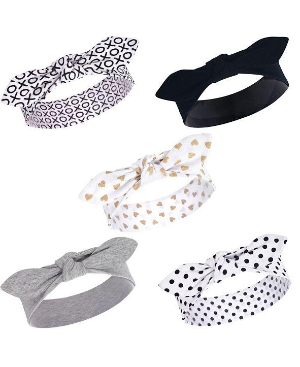 Hudson Baby Baby Girl Cotton Headbands, Set of 5