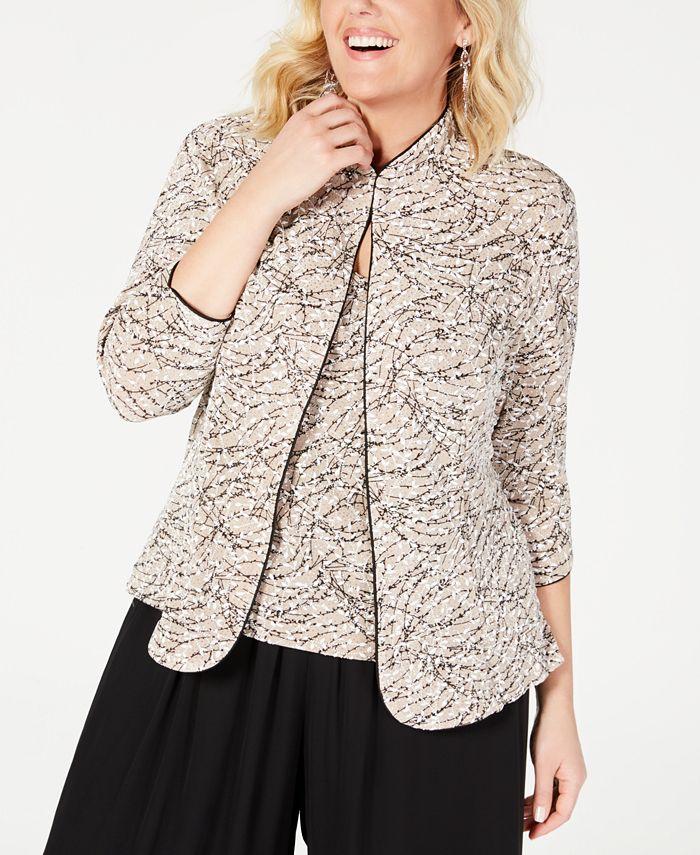 Alex Evenings - Plus Size Printed Mandarin Jacket and Top