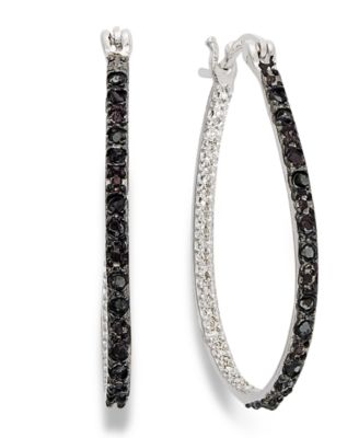 NEW Macy/'s Victoria Townsend Sterling Silver Earrings Black Diamond 1//4 ct tw