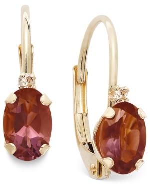 10k Gold Earrings, Garnet (3/4 ct. t.w.) and Diamond Accent Leverback Earrings