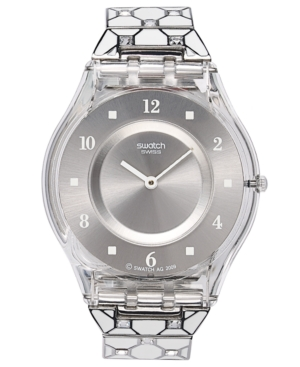 Swatch Watch, Women's Swiss Elegantly Framed Stainless Steel and White Synthetic Resin Bracelet 34mm SFK356G