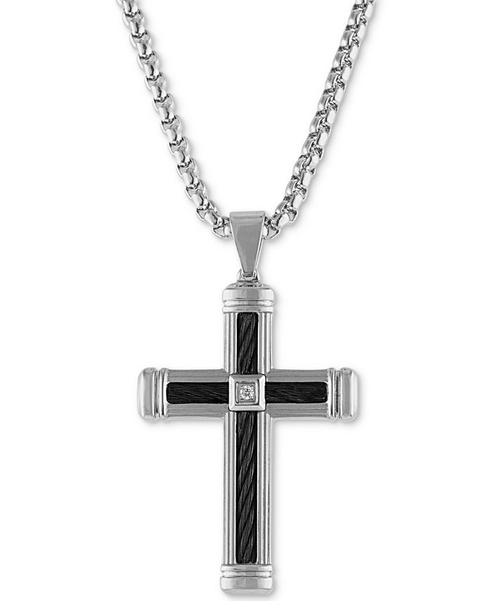 """Esquire Men's Jewelry - Diamond Accent Cross 22"""" Pendant Necklace  in Stainless Steel & Black Ion-Plate"""