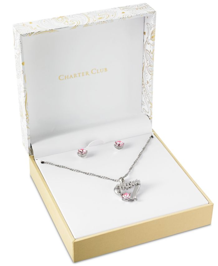 """Charter Club Silver-Tone Crystal MOM Pendant Necklace & Stud Earrings Set, 17"""" + 2"""" extender, Created for Macy's  & Reviews - Fashion Jewelry - Jewelry & Watches - Macy's"""