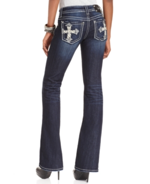 Miss Me Jeans, Bootcut Dark Wash Cross Rhinestone Embroidered