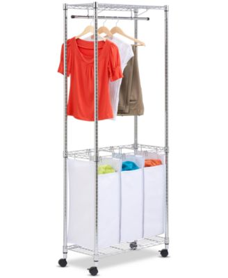 Honey Can Do Rolling Laundry Center, Urban Chrome