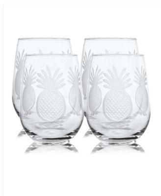 Pineapple Stemless 17Oz - Set Of 4 Glasses