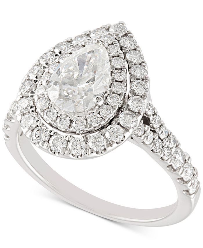 Macy's - Diamond Pear Double Halo Engagement Ring (2 ct. t.w.) in 14k White Gold