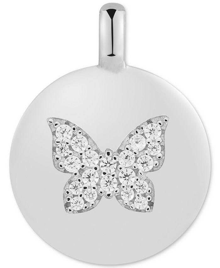 "CHARMBAR - Swarovski Zirconia Butterfly ""Believe in Yourself"" Reversible Disc Pendant in Sterling Silver"