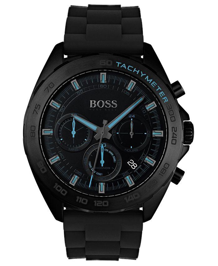 BOSS - Men's Chronograph Intensity Black Rubber Strap Watch 44mm