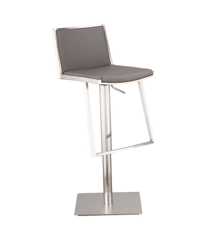 Armen Living - Ibiza Adjustable Brushed Stainless Steel Barstool in Gray Faux Leather