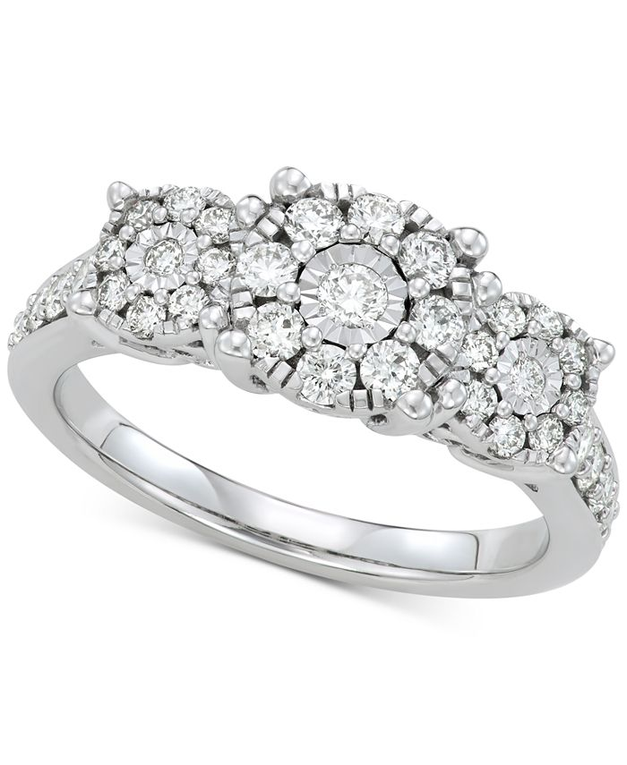 Macy's - Diamond Cluster Statement Ring (3/4 ct. t.w.) in 14k White Gold