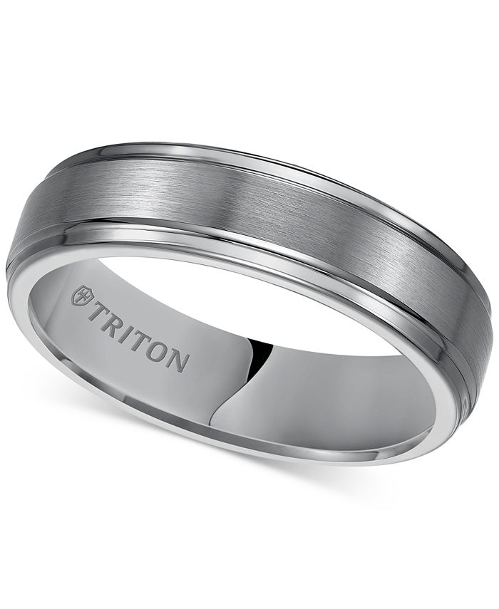 Triton Men S Tungsten Carbide Ring 6mm Comfort Fit Wedding Band Reviews Rings Jewelry Watches Macy S