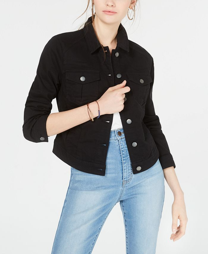 Tinseltown - Juniors'  Black High-Low Jean Jacket
