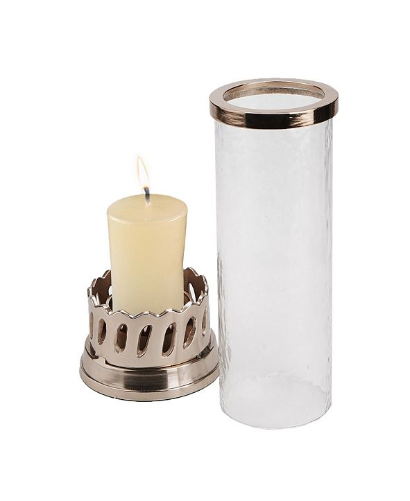 Mind Reader Candle Pillar Holder with Rose Gold Base and Trim