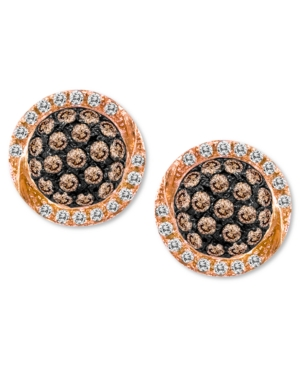 Chocolate by Petite Le Vian Chocolate Diamond (3/8 ct. t.w.) and White Diamond (1/10 ct. t.w.) Pave Oval Stud Earrings in 14k Rose Gold