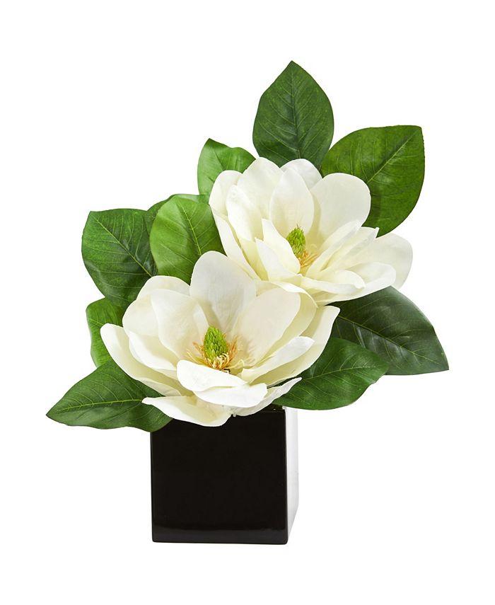 Nearly Natural - Magnolia Artificial Arrangement in Black Vase