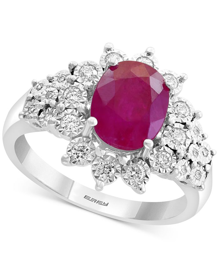 EFFY Collection - Certified Ruby (1-9/10 ct. t.w.) & Diamond (1/4 ct. t.w.) Ring in 14k White Gold