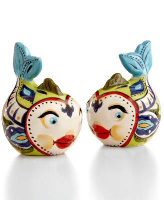 Espana Bocca Geo Fish Salt and Pepper Shakers