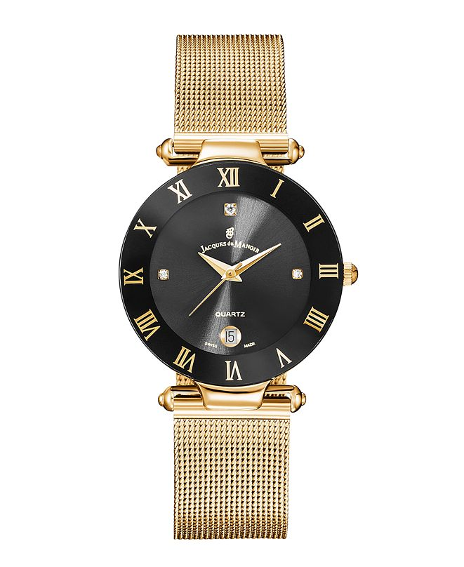 Jaques Du Manoir Jacques Du Manoir Ladies' Rose Gold Stainless Steel Mesh with Goldtone Case Black Bezel and Black Dial, 33mm