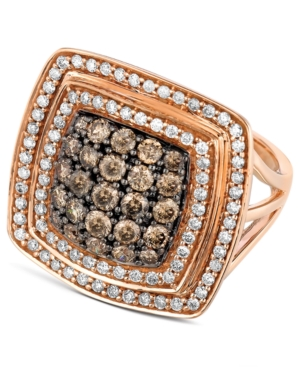 Le Vian 14k Rose Gold Chocolate and White Diamond Square Ring (1-5/8 ct. t.w.)
