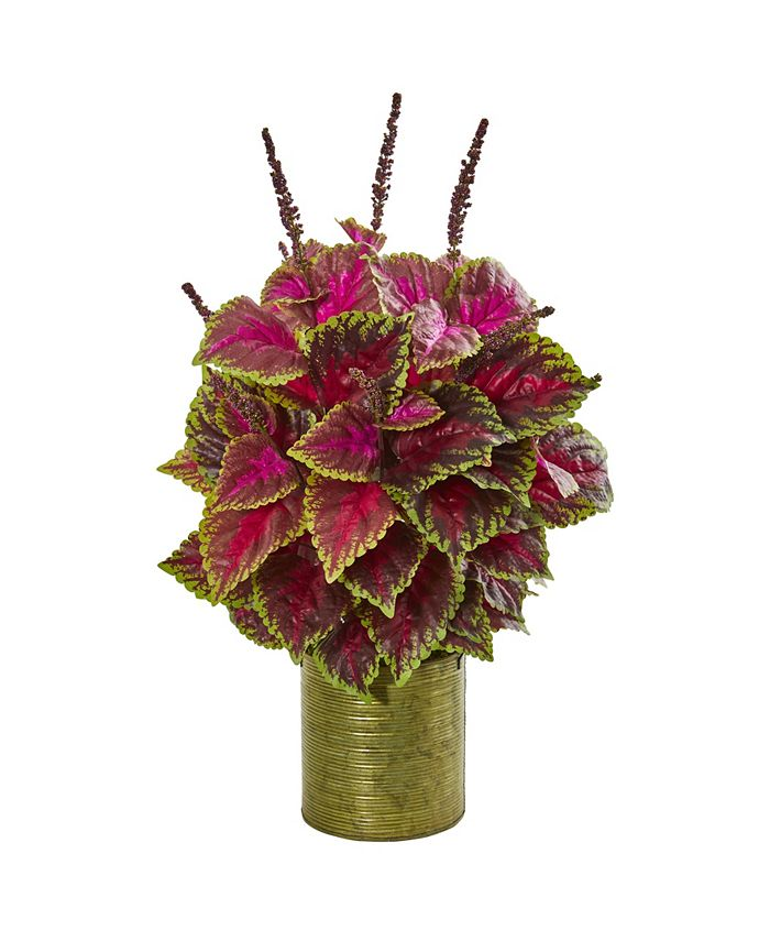 """Nearly Natural - 24"""" Coleus Artificial Plant in Green Planter"""