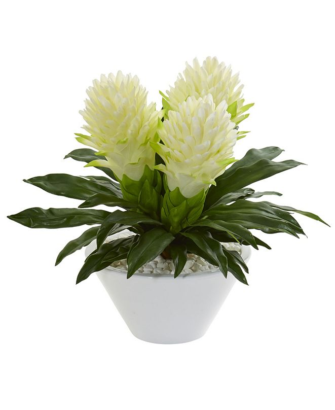 """Nearly Natural 17"""" Ginger Artificial Plant in White Vase"""