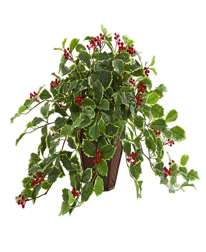"""Nearly Natural 18"""" Variegated Holly Artificial Plant in Decorative Planter (Real Touch)"""