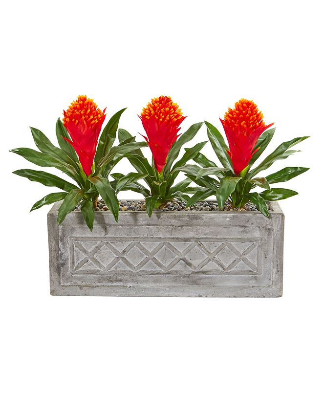"Nearly Natural 20"" Bromeliad Artificial Plant in Stone Planter"