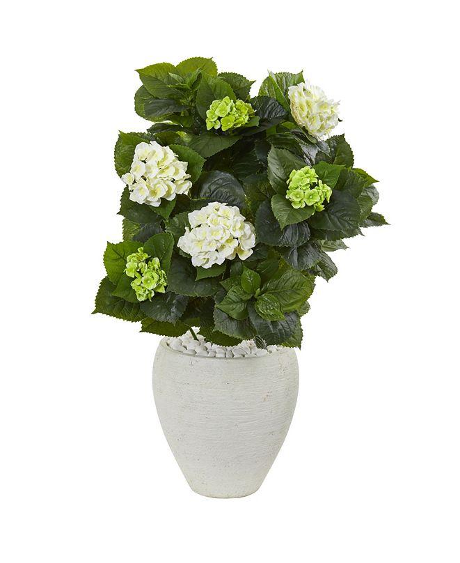 "Nearly Natural 33"" Hydrangea Artificial Plant in White Planter"