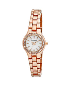 Laura Ashley Rose Gold Mini Link Crystal Bezel Bracelet Watch