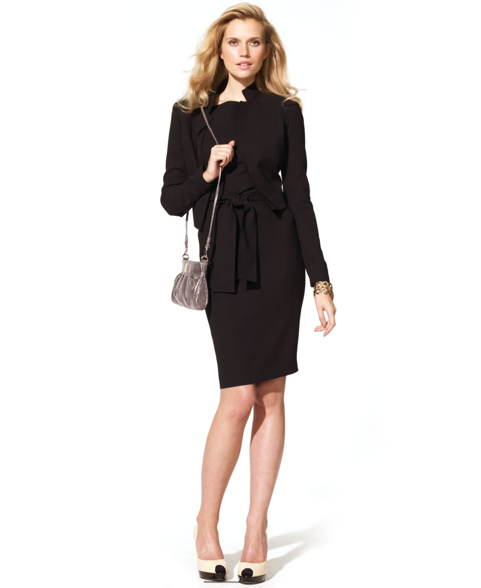 Anne Klein Suit Cropped Jacket Sleeveless Square Neck Sheath Dress Jackets Blazers Women