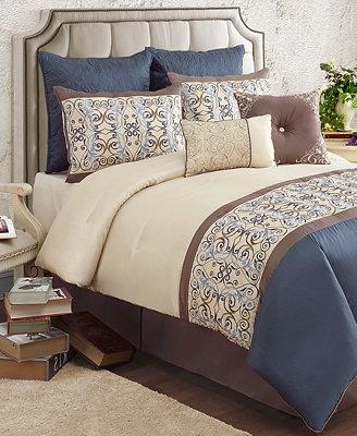 Closeout Venetian 8 Piece Queen Comforter Set Bed In A