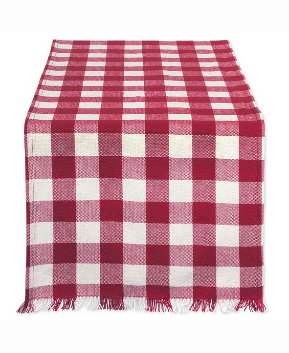 """Design Imports Wine Heavyweight Check Fringed Table Runner 14"""" X 72"""""""