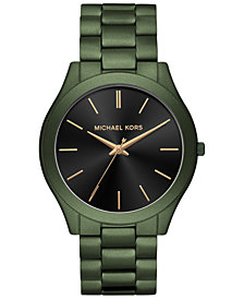 Michael Kors Men's Slim Runway Olive Stainless Steel Bracelet Watch 44mm
