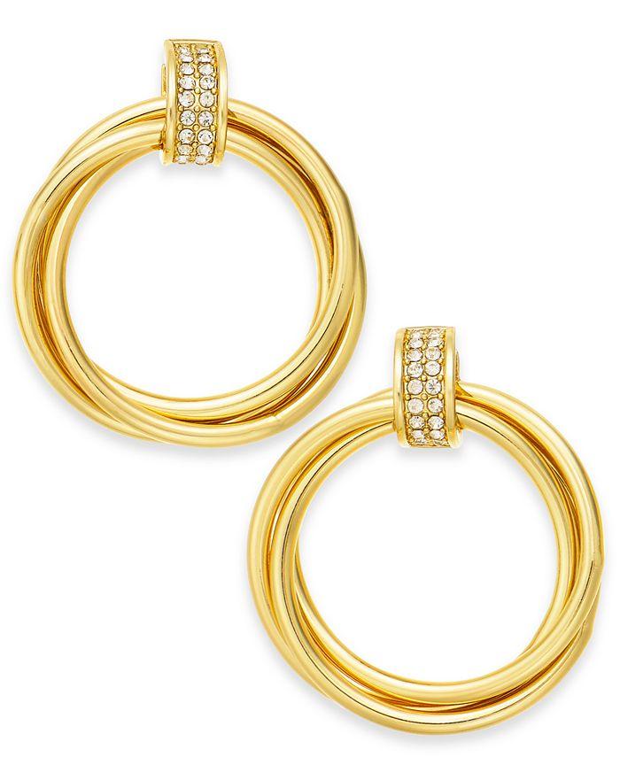 Alfani - Gold-Tone Pavé Ring Hoop Earrings, Created for Macy's
