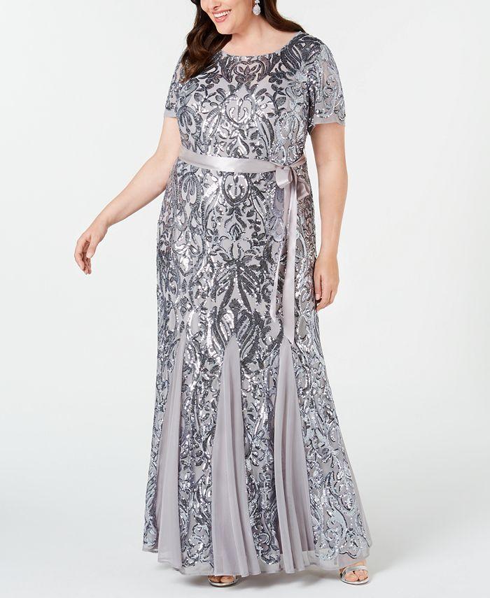 R & M Richards - Plus Size Embellished Godet Gown