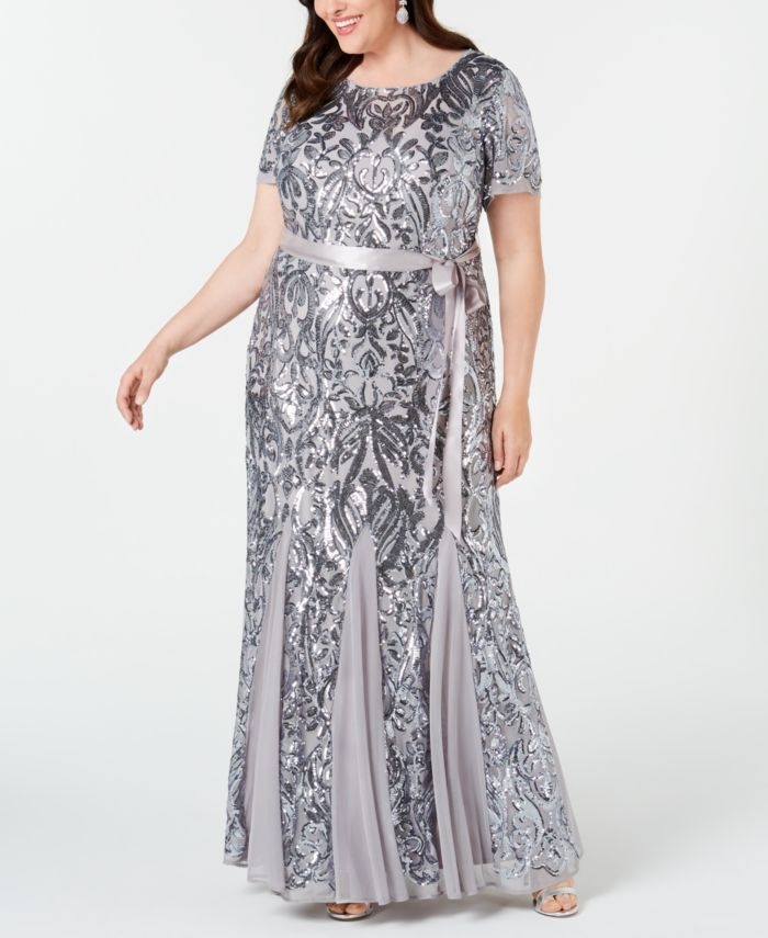 R & M Richards Plus Size Embellished Godet Gown & Reviews - Dresses - Plus Sizes - Macy's
