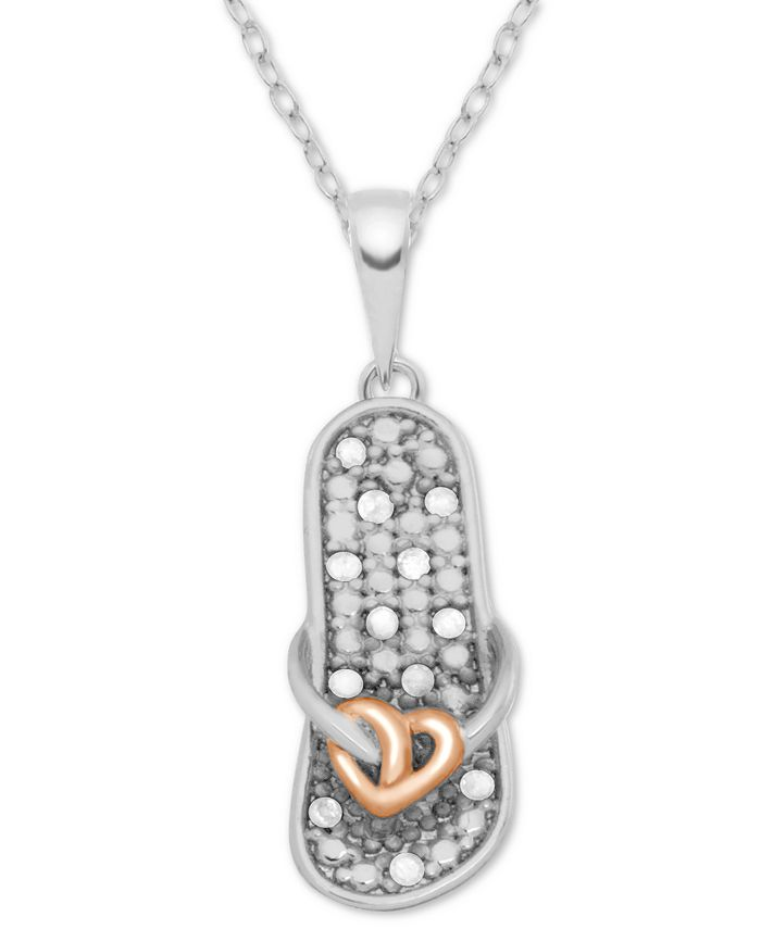 "Macy's - Diamond Two-Tone Flip-Flop Sandal 18"" Pendant Necklace (1/10 ct. t.w.) in Sterling Silver & 18k Rose Gold-Plate"