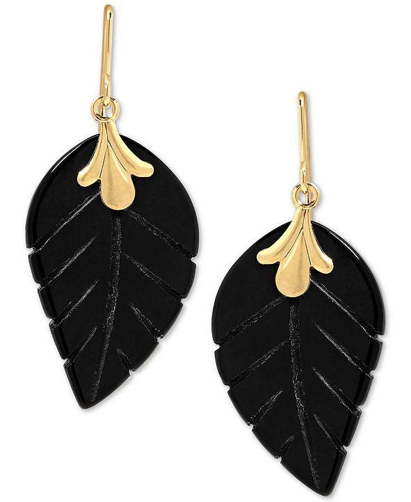 Macy's Onyx (21 x 13mm) Leaf Drop Earrings in 10k Gold