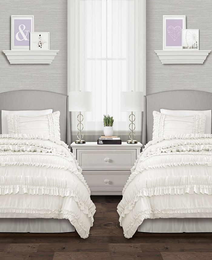 Lush Décor - Belle Comforter White 3Pc Set Twin XL
