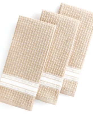 Martha Stewart Collection Kitchen Towels, Set of 3 Waffle Weave Taupe
