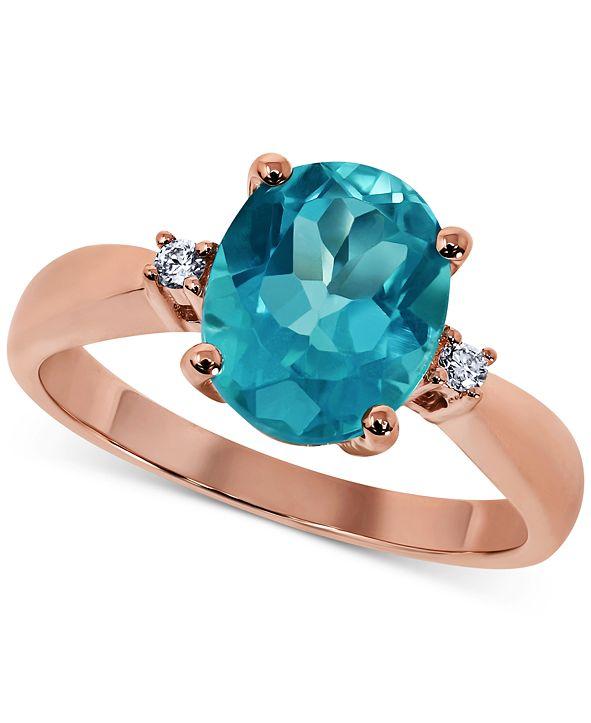 Macy's Paraiba Mystic Topaz (3 ct. t.w.) & Diamond Accent Statement Ring in 14k Rose Gold