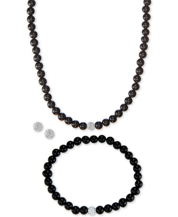 Macy's - 3-Pc. Set Onyx (6mm) & Crystal Collar Necklace, Bracelet & Stud Earrings in Sterling Silver