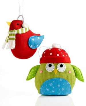 Holiday Lane Christmas Ornaments, Knit Bird or Owl