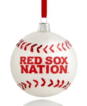 Kurt Adler Christmas Sports Ornament, Red Sox Glass MLB Baseball