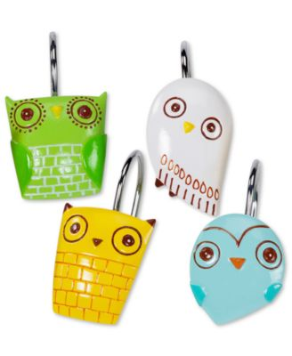 Accessories, Give a Hoot Shower Hooks, Set of 12
