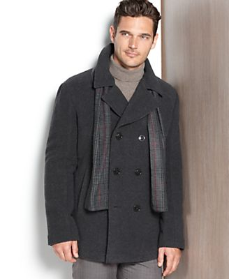 Kenneth Cole Coat, Wool-Blend Peacoat