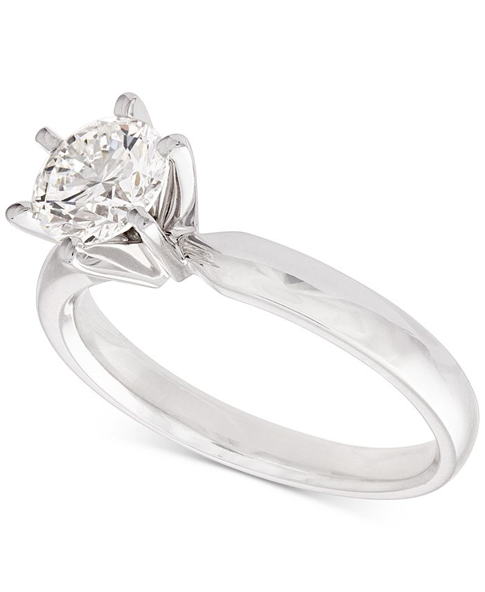 Macy's - Certified Diamond Solitaire Ring (1 ct. t.w.) in 14k White Gold