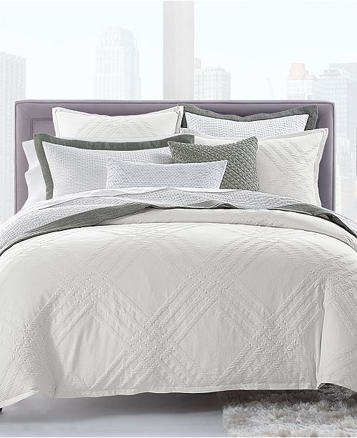 Hotel Collection CLOSEOUT! Locked Geo Cotton King Duvet Cover